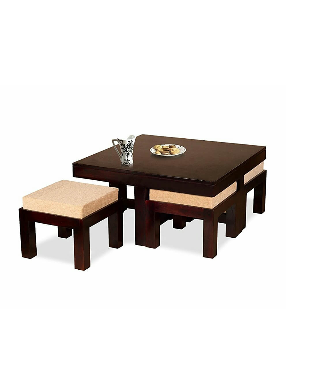 Wooden Coffee Table With 4 Stools For Living Room Rajtaishree