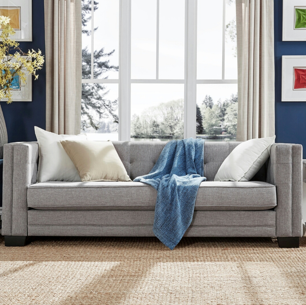 Set of 2 hamilton modern linen sofa with button tufting
