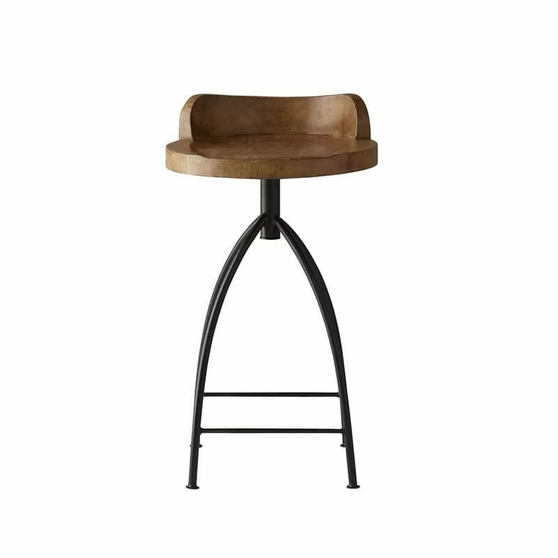 Low Back Rest Wooden Top And Iron Base Stool